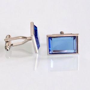 Silver and Blue Crystal Cufflinks